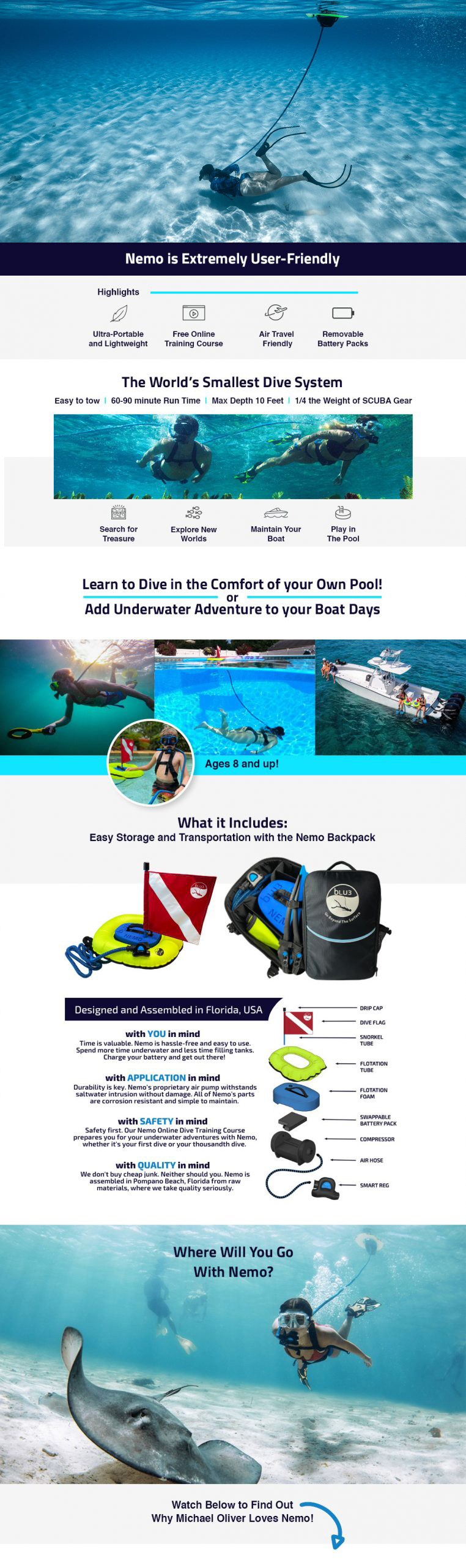 Nemo by BLU3 Worlds Smallest Dive System with backpack